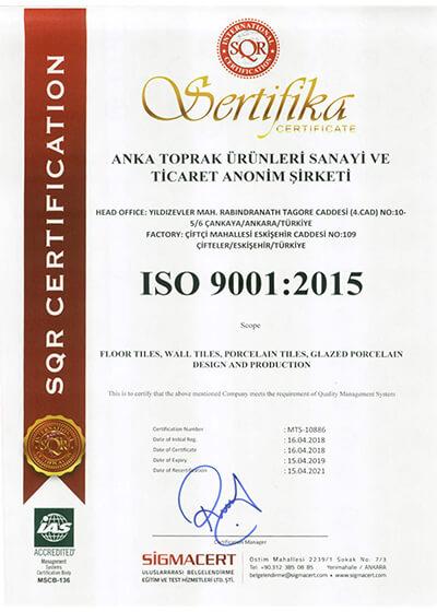 Anka Seramik ISO Kalite Belgesi